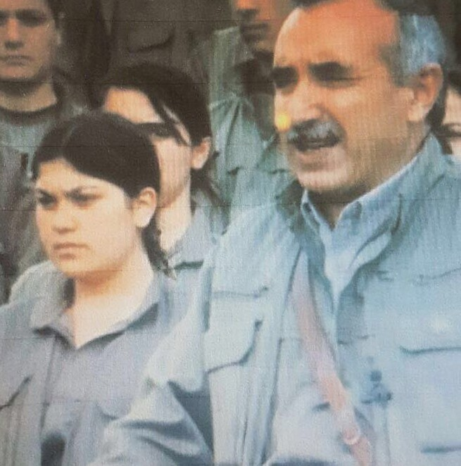 Ebru Fu0131rat seen standing next to Murat Karayu0131lan, who is one of the PKK terrorist organizationu2019s co-founders and has been acting leader since its original founder and leader, Abdullah u00d6calan, was captured in 1999  File Photo