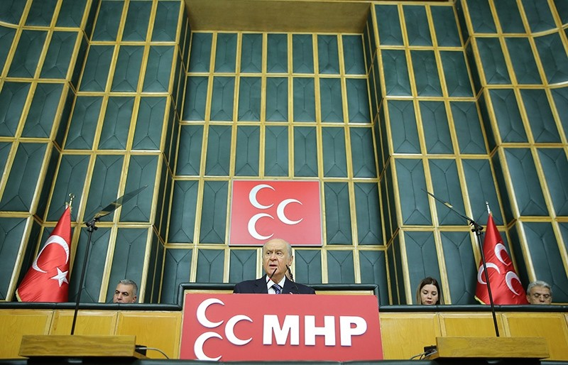 MHP Chairman Devlet Bahu00e7eli addressing his party members at the parliamentary group meeting in Ankara on November 15, 2016.  (AA Photo)