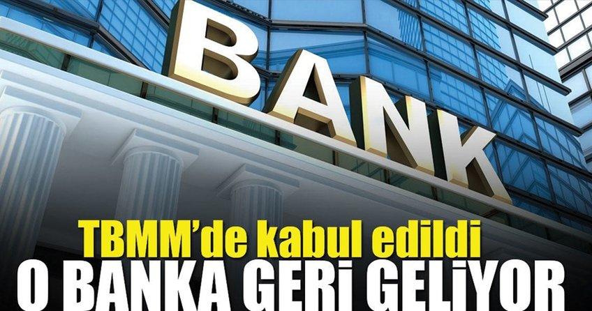 Emlak Bankası'nın yeniden açılması TBMM'de kabul edildi