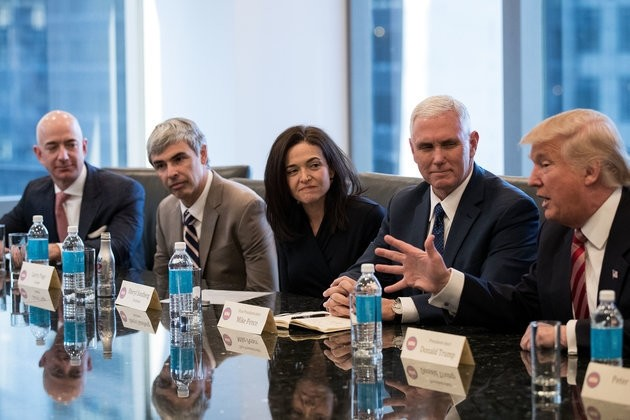 (L to R) Jeff Bezos, chief executive officer of Amazon, Larry Page, chief executive officer of Alphabet Inc. (parent company of Google), Sheryl Sandberg, chief operating officer of Facebook, Vice President-elect Mike Pence listen Donald Trump