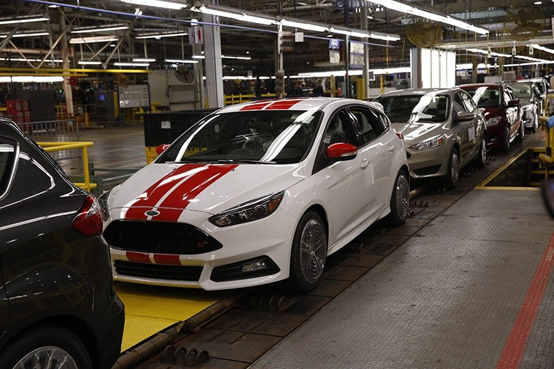 A Ford Focus on the assembly line at Ford Motor Company's Wayne Assembly in Flat Rock, Wayne, Michigan, USA, 07 January 2015. (EPA Photo)