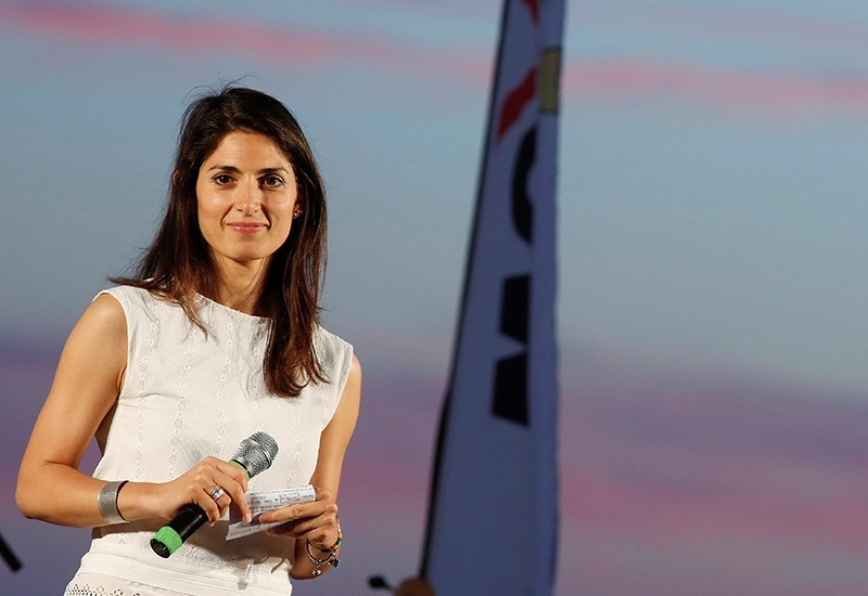 Virginia Raggi, 5-Star Movement candidate for Rome's mayor, stands on stage during a rally in Ostia, near Rome, Italy June 17, 2016. (Reuters Photo)