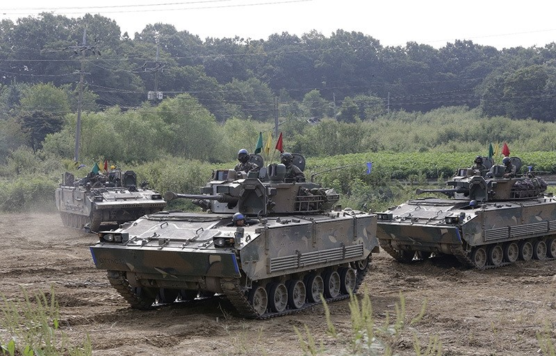 South Korean army's armored vehicles conduct an annual exercise in Paju, South Korea, near the border with North Korea, Sunday, Sept. 11, 2016. (AP Photo)