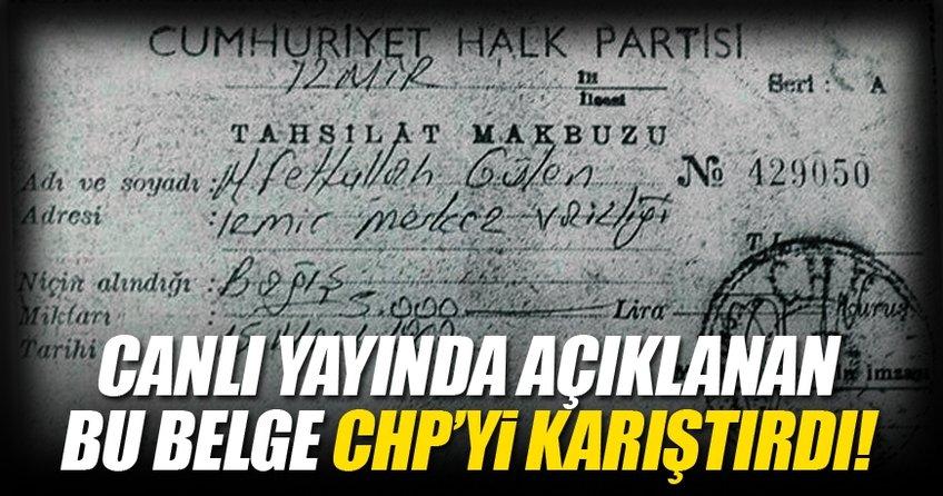 Canlı yayında açıklanan bu belge CHP'yi karıştırdı