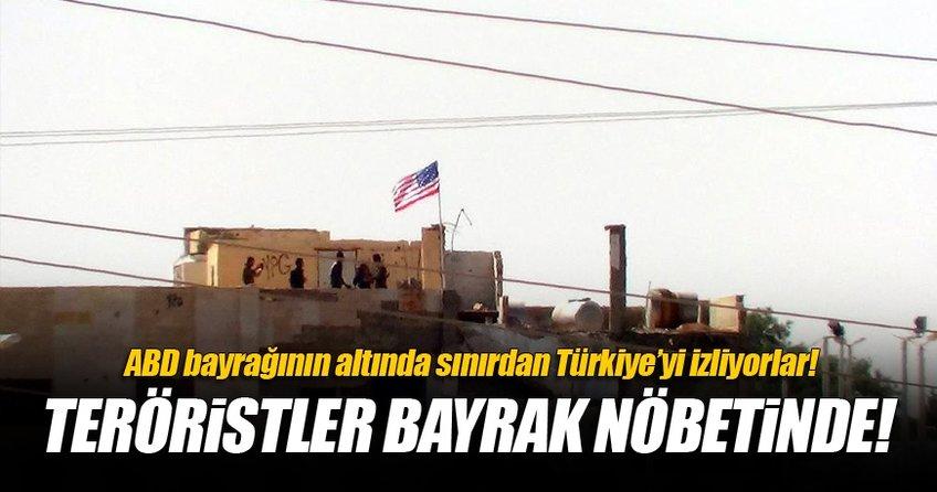 PYD'li teröristler ABD bayrağının altında nöbet tutuyor!