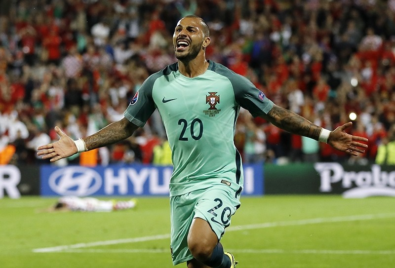 Portugal's Ricardo Quaresma celebrates after scoring during the Euro 2016 round of 16 soccer match between Croatia and Portugal at the Bollaert stadium in Lens, France, Saturday, June 25, 2016. (AP Photo)