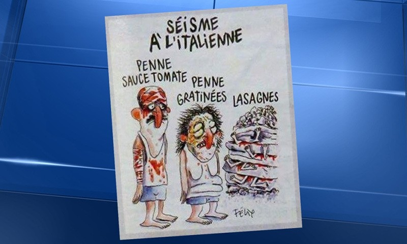 Controversial Charlie Hebdo cartoon which drew criticism from many in Italy. (DHA Photo)