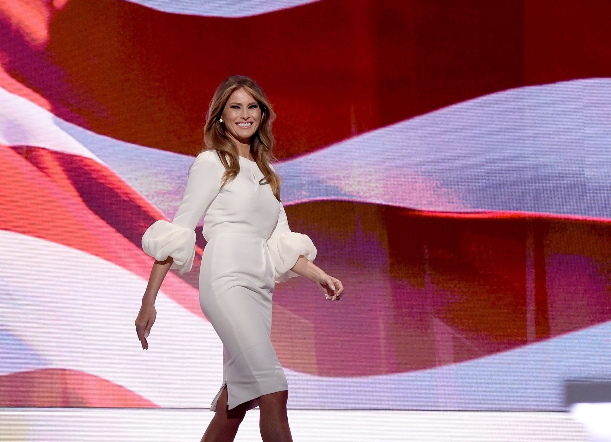 Melania Trump, wife of Republican presidential candidate Donald Trump, arriving on stage on the first day of the Republican National Convention at the Quicken Loans Arena in Cleveland, Ohio. (AFP Photo)