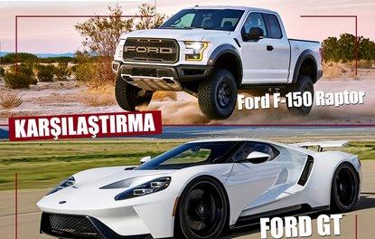 KARŞILAŞTIRMA · Ford F-150 Raptor & Ford GT