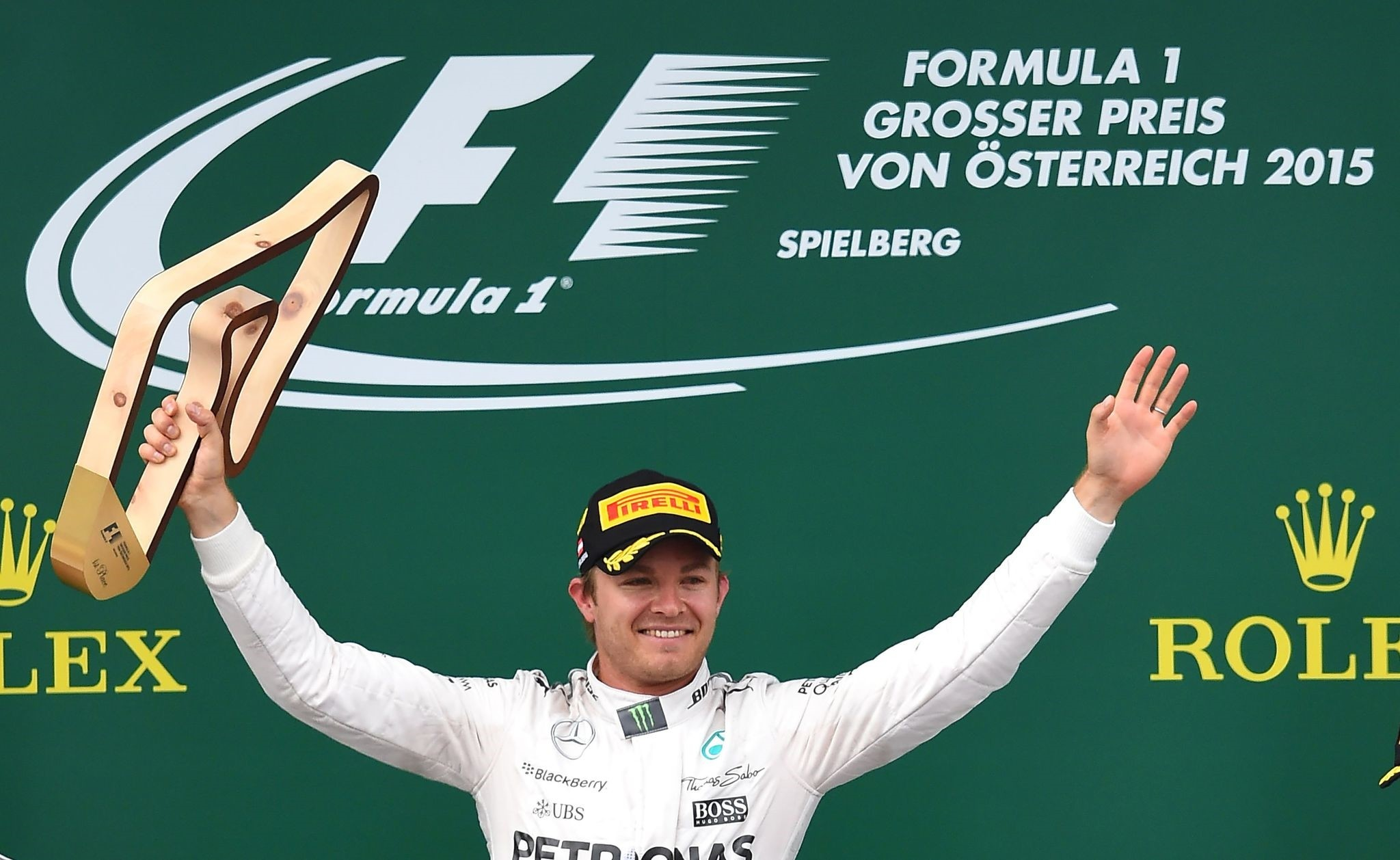 This file photo taken on June 21, 2015 shows Mercedes AMG Petronas F1 Team's German driver Nico Rosberg celebrating on the podium. (AFP Photo)