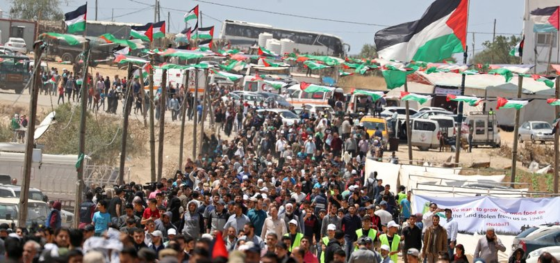 THOUSANDS OF PALESTINIAN PROTESTERS MARK ANNIVERSARY OF NAKBA DAY