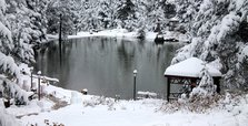 Winter fairy tale in May: Snow covers Limni Lake Park in Turkey