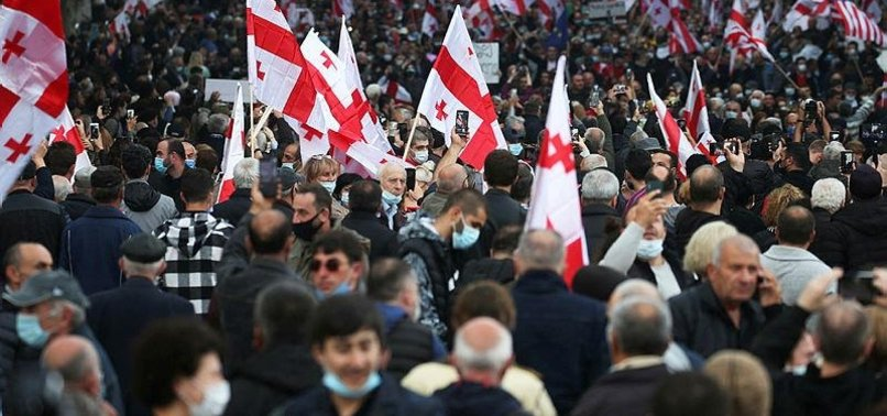 THOUSANDS OF GEORGIANS RALLY IN TBILISI TO DEMAND RELEASE OF JAILED EX-PRESIDENT SAAKASHVILI