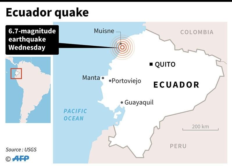 Map locating a 6.7-magnitude earthquake in Ecuador (AFP)
