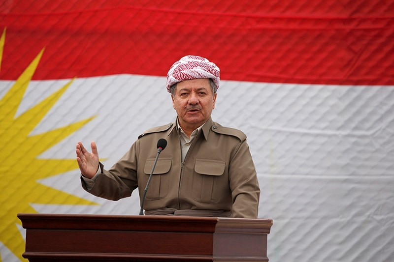KRG President Masoud Barzani speaks to the media during his visits in the town of Bashiqa, after it was recaptured from the Daesh, east of Mosul, Iraq, Nov. 16, 2016. (Reuters Photo)