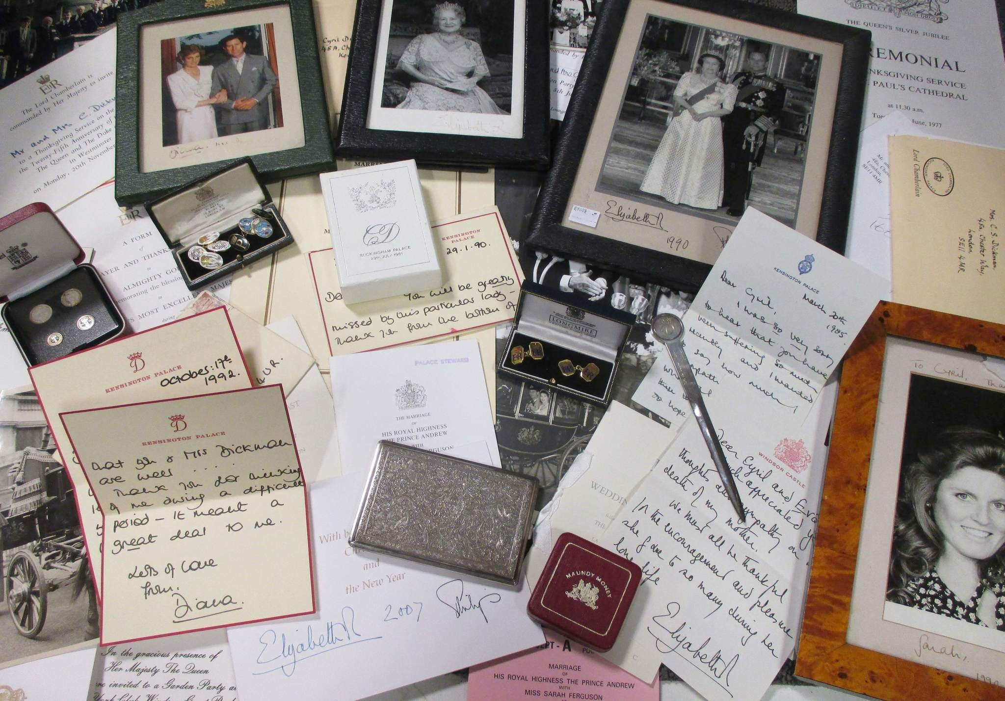 An undated handout picture on January 5, 2017, shows a selection of correspondence and memorabilia sent, and given to, Cyril Dickman. (AFP Photo)