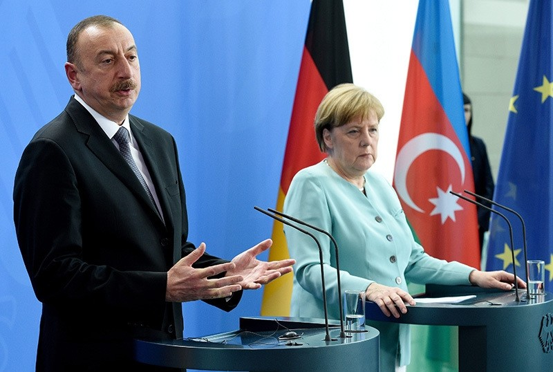 German Chancellor Angela Merkel and the President of Azerbaijan, Ilham Aliyev, during a press conference in Berlin, Germany, June 07, 2016. (EPA Photo)