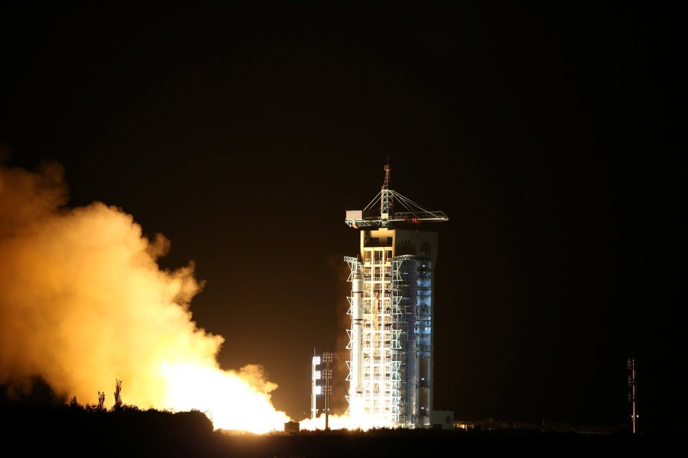 World's first quantum satellite is launched in Jiuquan, Gansu Province.