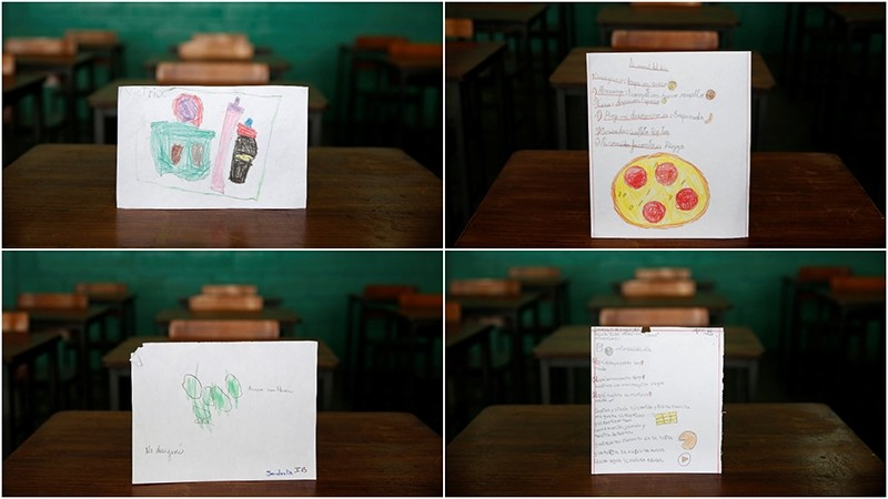 Drawings made during a lesson at a school shows what a student ate during the course of a day in Caracas, Venezuela July 14, 2016. (REUTERS Photo)