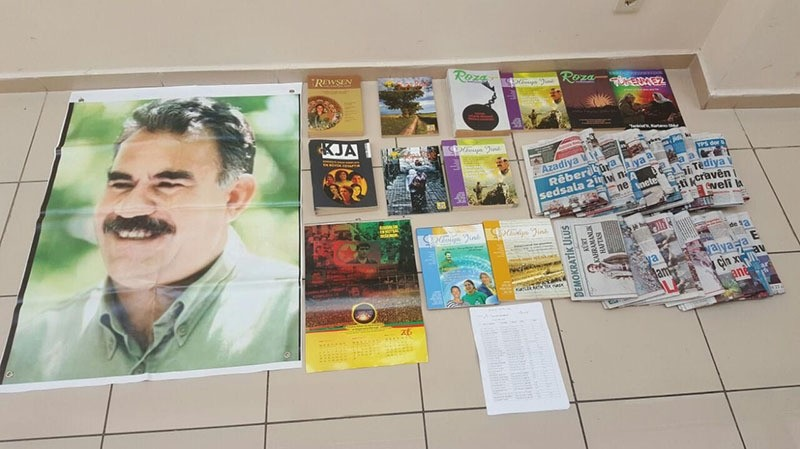 PKK terrorist propaganda material seized during the operations in u0130zmir (DHA Photo)