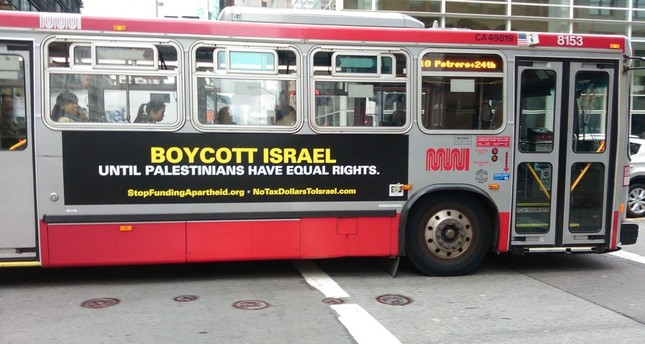 San Francisco SeaMAC bus ad defends the right to boycott Israel (Photo courtesy of SeaMAC)