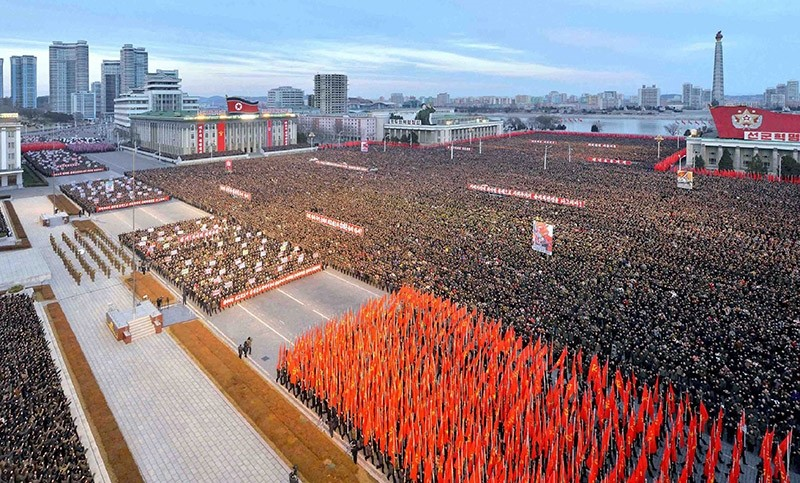 This picture taken on January 5, 2017 and released by North Korea's official Korean Central News Agency (KCNA) on January 6, 2017 shows a mass rally taking place at Kim Il Sung Square in Pyongyang. (AFP Photo via KCNA)