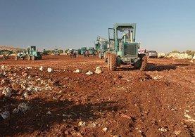 Halep'ten gelecek olanların barınacağı kampın yapımına başlandı