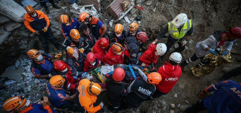 RESCUE EFFORTS CONTINUE IN QUAKE-HIT IZMIR TO PULL SURVIVORS OUT OF RUBBLES OF COLLAPSED BUILDING