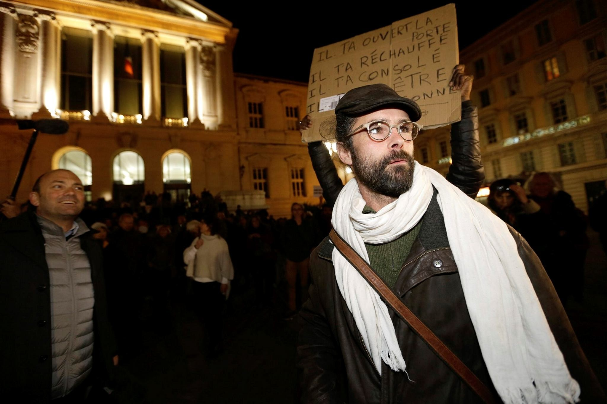Cedric Herrou, a French activist farmer who is facing up to five years in prison as he goes on trial accused of helping illegal African migrants cross the border from Italy into France, leaves the Nice courthouse, southern France, Jan. 4.