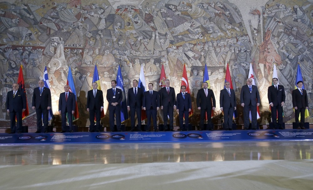A group  photo of leaders during the Black Sea Economic Cooperation Organization foreign ministersu2019 meeting in Belgrade