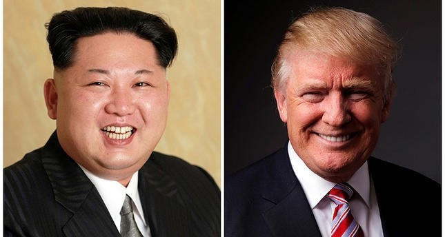 A combination photo shows a KCNA handout of North Koreau2019s Kim Jong Un released on May 10, 2016, and Republican candidate Donald Trump posing for a photo after an interview in New York City, U.S., May 17, 2016. (Reuters Photo)