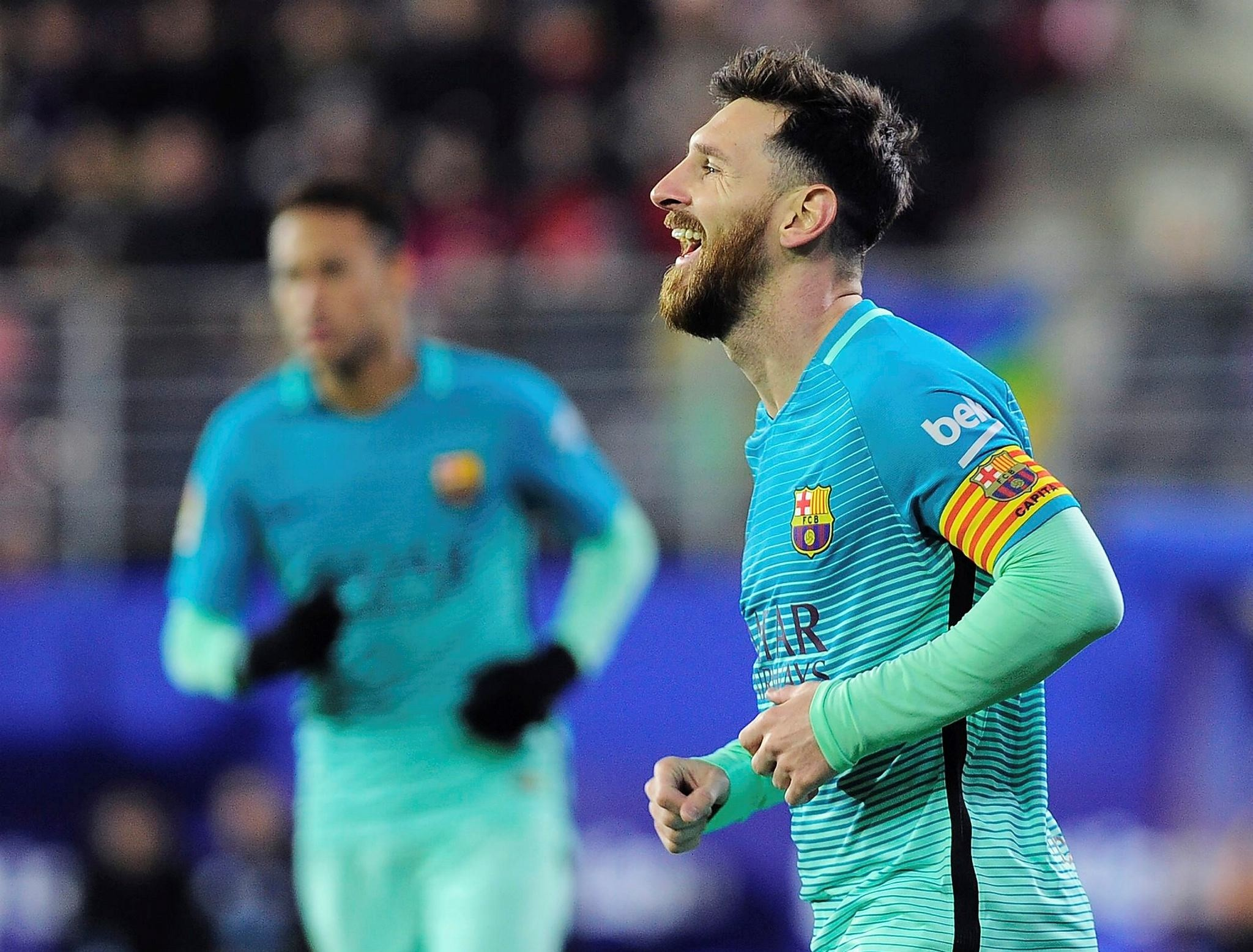 Lionel Messi celebrates after scoring his team's second goal during the Spanish league football match SD Eibar vs FC Barcelona at the Ipurua stadium in Eibar on January 22, 2017. (AFP Photo)