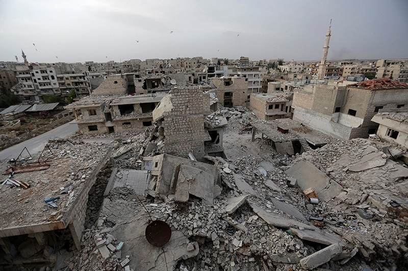 A general view shows damaged buildings in the rebel-controlled area of Maaret al-Numan town in Idlib province, Syria, May 15, 2016 (Reuters Photo)