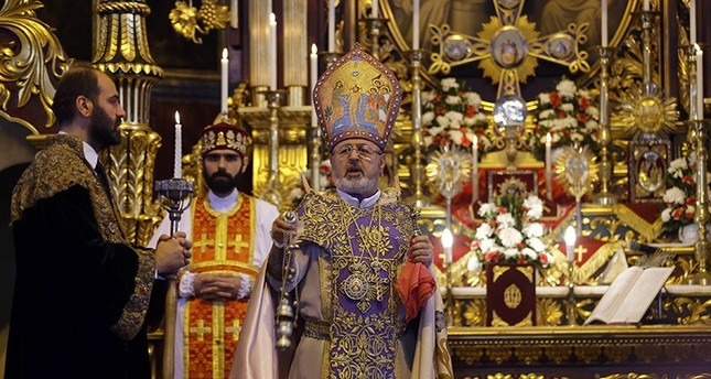 Archbishop Aram Ateu015fyan (C) holds a mass at Surp Asdvadzadzin Patriarchal Church in Istanbul