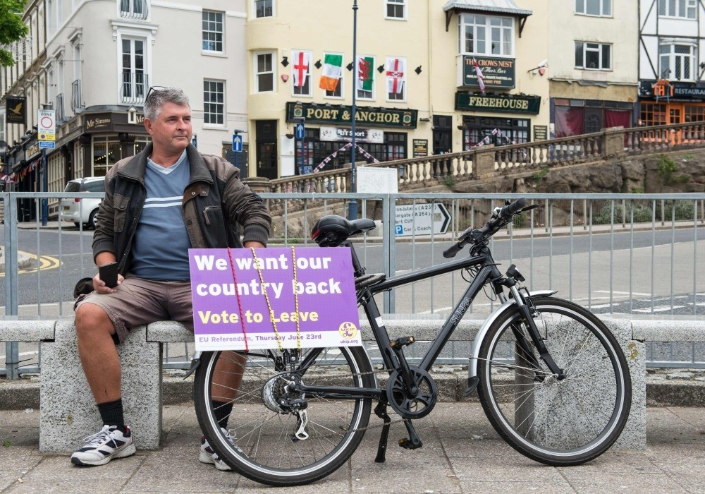 UK Independence Party supporters await the arrival of leader Nigel Farage as he goes on the campaign trail for Brexit in Ramsgate on Monday.
