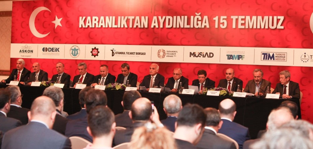 Twelve big business associations gathered in order to express their determination to produce more and develop the Turkish economy further, stressing their strong opposition against the coup attempt on Friday.