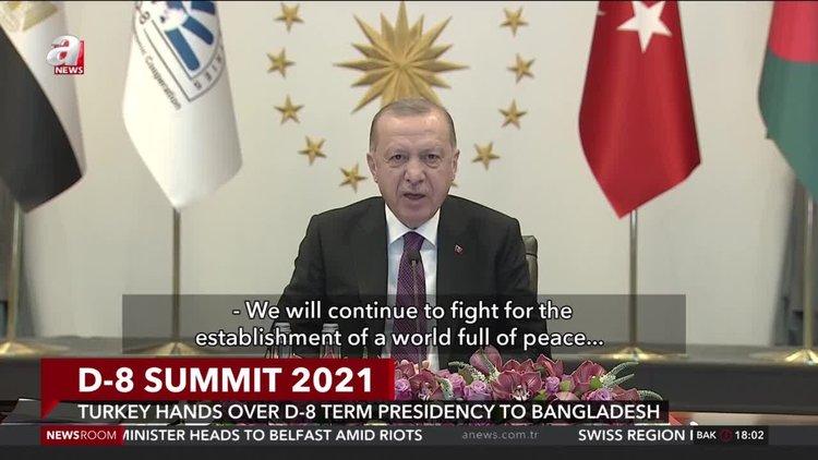 Erdoğan calls for trade in local currencies at virtual D-8 meeting