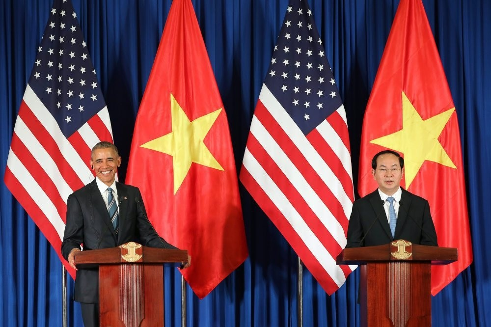 U.S. President Barack Obama (L) and Vietnamese President Tran Dai Quang (R) at a press conference at the International Convention Center in Hanoi, Vietnam, on May 23.