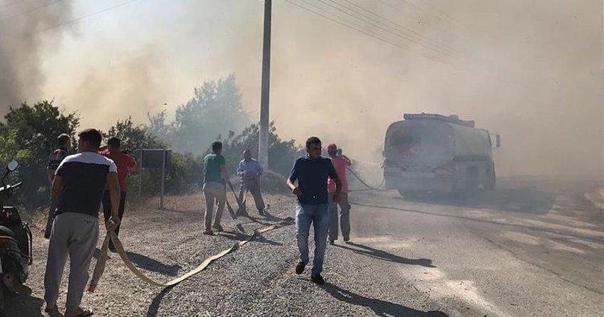 Alanya'da villalar bölgesinde yangın