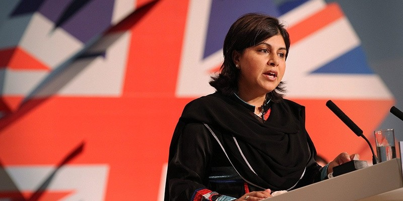 Sayeeda Warsi speaks to delegates at the Conservative Party Conference at the International Convention Centre on October 3, 2010 in Birmingham, England.