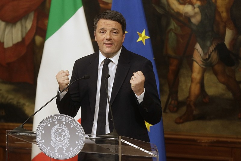 Italian Premier Matteo Renzi gestures a press conference at the premier's office Chigi Palace in Rome, early Monday, Dec. 5, 2016. (AP Photo)