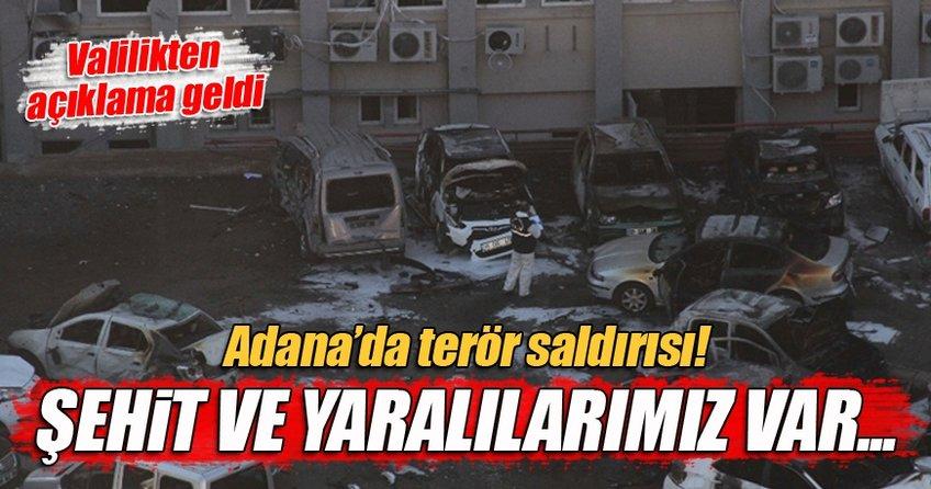 Adana Valiliği'nin otoparkında patlama olay yerinden ilk görüntüler