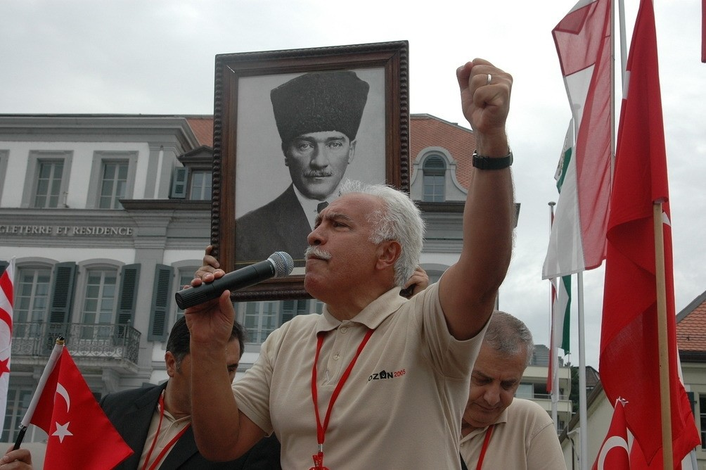 Dou011fu Perinu00e7ek is adressing a Turkish community during an event organized for the anniversary of the Treaty of Lausanne in Switzerland, July 24,2005. (Archive Photo)
