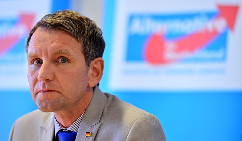 The file picture dated 17 May 2016 shows Bjoern Hoecke, head of right-wing party Alternative for Germany (AfD) during a press conference at the state parliament of Thuringia in Erfurt, Germany. (EPA Photo)