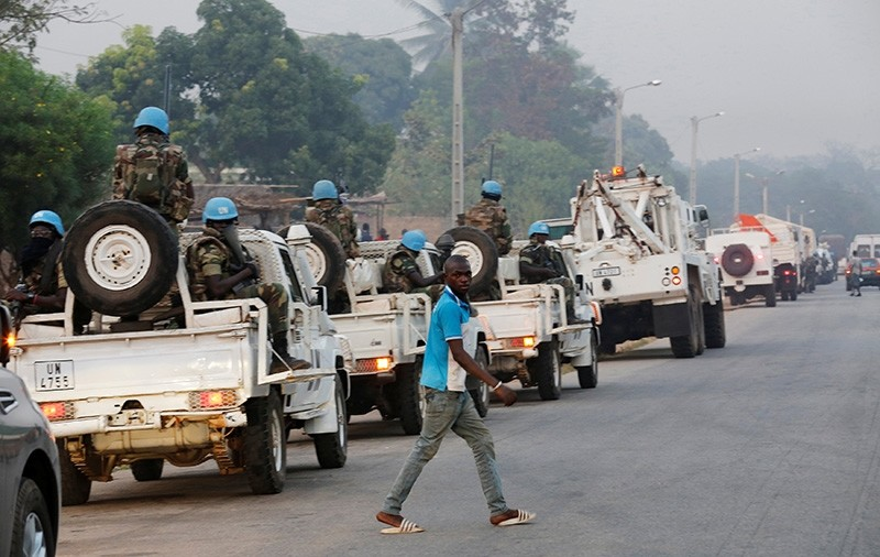 A convoy of the United Nation peacekeepers from Senegal is seen parked along a road in Bouake, Ivory Coast, January 6, 2017. (Reuters Photo)