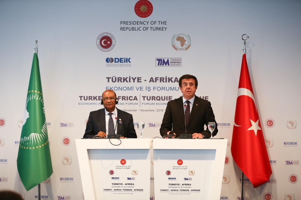 The African Union's Maruping (L) and Economy Minister Zeybekci held a joint press conference yesterday at the Turkey-Africa Economic and Business Forum.