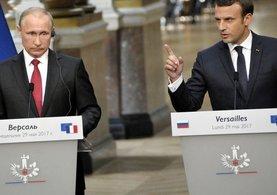 Emmanuel Macron, Putin'in yanında Rus medyasına yüklendi!