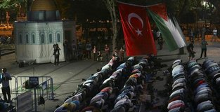 A rally held by NGOs in Istanbul in solidarity with Palestinians