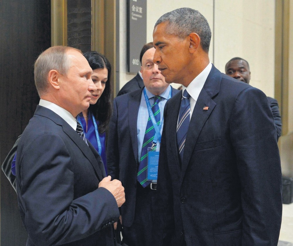 Russian President Vladimir Putin meets with U.S. President Barack Obama on the sidelines of the G20 summit in Hangzhou, China, Sept. 5.