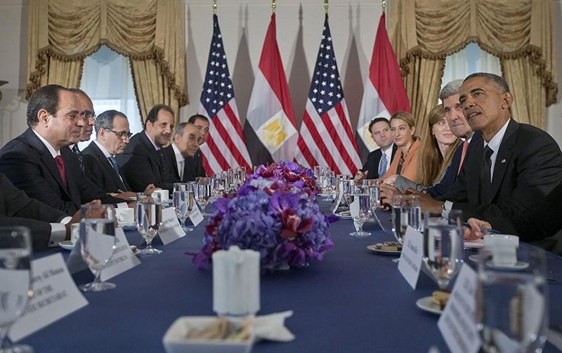 In this Thursday, Sept. 25, 2014 file photo, President Barack Obama meets with Egyptian President Abdel Fattah el-Sisi, left, in New York (AP Photo)